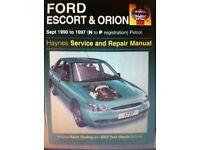 Haynes Manual, Ford Escort & Orion 90-97