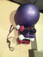 Free weights, excersise ball and jump rope