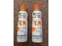 NEW 2 x 200ml Bottles of Garnier Ambre Solaire Kids Sun Spray
