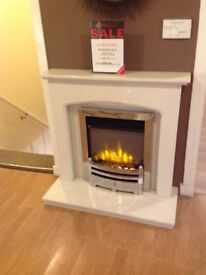 Hereford Arch Complete Arctic White Micromarble Fireplace