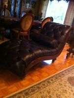 100% leather lounge chair chaise cuir MAKE AN OFFER!