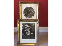 A pair of Black and white prints in ornate gilt frames