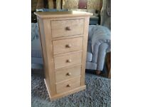 Tall Oak Chest 5 Drawers Slim Jim ✔️Brand New ✔️Free Local Delivery