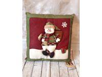 Kingfisher Christmas plush snowman cushion