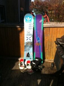 2 Snowboards, Bindings and Boots