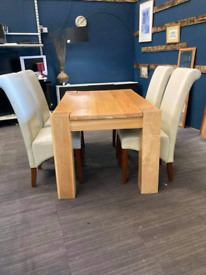 Oak dining table with 4 chairs £145