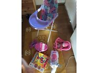 Girls bundle of toys. Baby doll, feeding chair, bike etc.