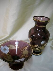 CZECHOSLOVAKIA Amethyst Vase and Bowl