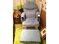 Habebe blue nursing chair and stool