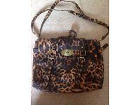 Leopard print satchel bag