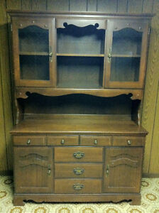 BUFFET AND HUTCH - SOLID MAPLE WOOD  IN EXCELLENT CONDITION - W