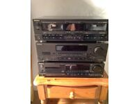Technics stereo Black Separates Receiver CD Player Twin Cassette Deck