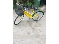 Yellow and green bicycle