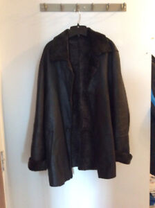 Winter Jacket, Leather/sheepskin Coat, San-Giovanni Italy, used