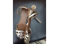 Real leather brand new flat gold sandals
