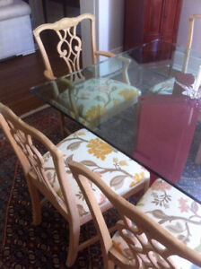 chipendale dining room chairs and glass table for sale