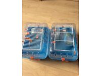 Double hamster cage with connector tube and accessories