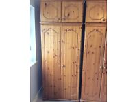 2 x pine wardrobes with top boxes