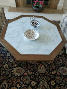 Lovely octagonal coffee table marble inlay, brass