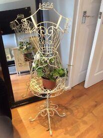 Shabby chic Metal frame mannequin plant holder/light holder