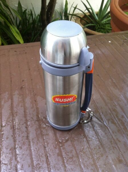 Nushi Made in Japan stainless steel insulated hot or cold water bottle.