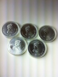 LOT OF 10 PCS UNC MONTREAL OLYMPIC 1974 & 1976 SILVER $5 & $10