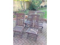 4 teak hardwood folding garden chairs