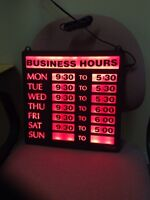 GENTLY USED BUSINESS HOUR LIGHT SIGN