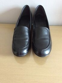 Ladies Footglove Black Leather loafers M&S wide fit 61/2