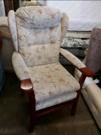 Armchair - Quality Extra Comfy Floral Fabric Wing Fireside HighBack Ar