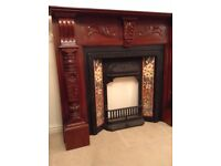 FREE Beautiful chunky wooden highly decorative fire surround