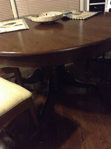 Antique dining table and vintage chairs