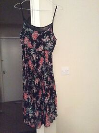 Floral black chiffon dress