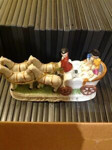 Vintage porcelain carriage and horses