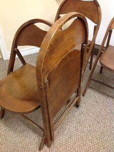 ANTIQUE ROUND TOP WOODEN FOLDING CHAIRS Kitchener / Waterloo Kitchener Area image 4