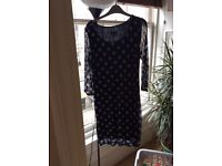 PHASE EIGHT Size 10, Navy Blue Polka Dot dress
