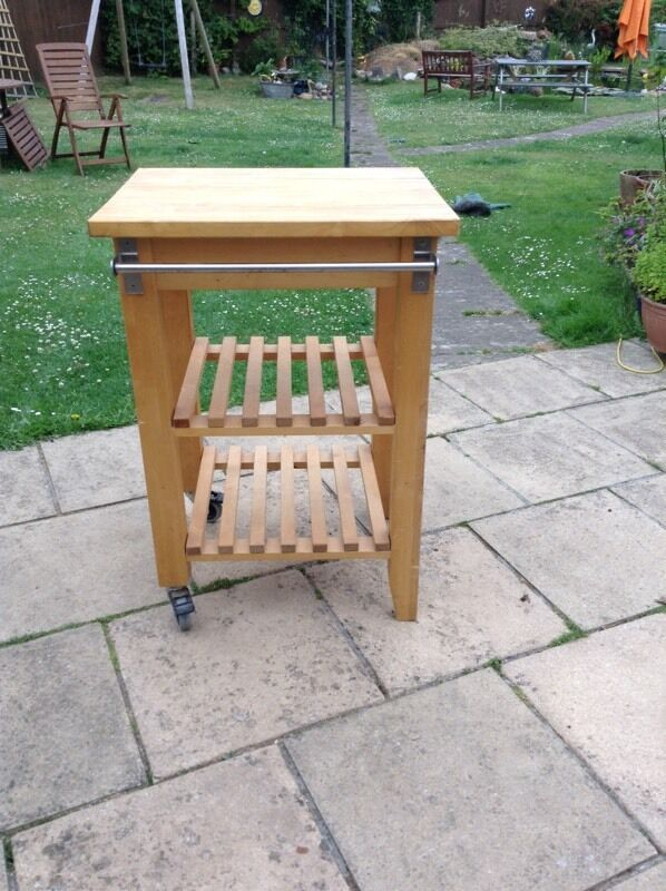 Pine kitchen work unitin Budleigh Salterton, DevonGumtree - Heavy kitchen work unit, it has two wheels for easy movement, it has some hooks and a towel rail, very sturdy, 60cm wide, 50cm deep and 88cm high