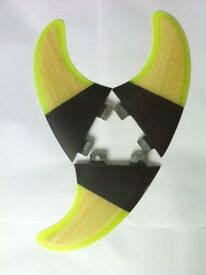 New! Surfboard Fins Honeycomb/Carbon G5/M5 Template. Set of 3 FCS fit surf fins. Wood effect