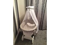 Moses Basket, On Lockable.Wheels, Grey & White, Cost £200 new. Extra gift, only used twice.