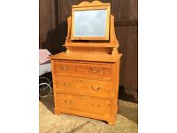 Pine three drawer dressing table and mirror