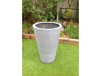 Polystone light grey 89cm tall pot