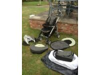 Silver cross Pram & Buggy System + Wicker Moses basket & bedding