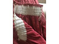 Long pink linen curtains 130x210cm each