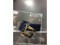 Gucci navy patent leather belt size s