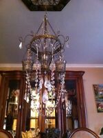 One of a kind handmade Swarovski crystal candle chandelier