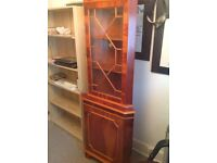 Reproduction yew display cabinet