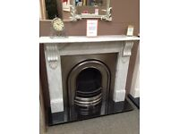 Carrara Corbel Fireplace With Full Polish Cast Insert & Black Granite Hearth