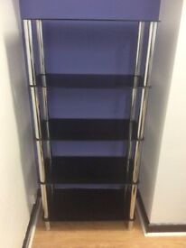 Black glass and silver shelving unit