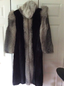 Black mink and silver fox fur coat