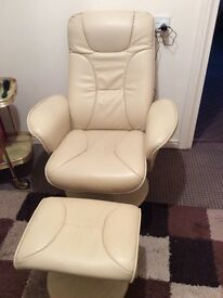 RECLINER CHAIR WITH MATCHING STOOL